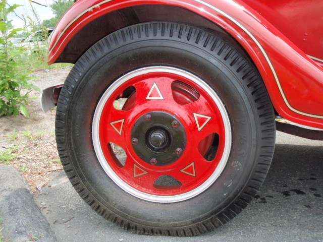 Bruce also restored the wheels, leaving the original triangles alone.  I was able to reproduce these triangles for the wheels on the '36 Ford.