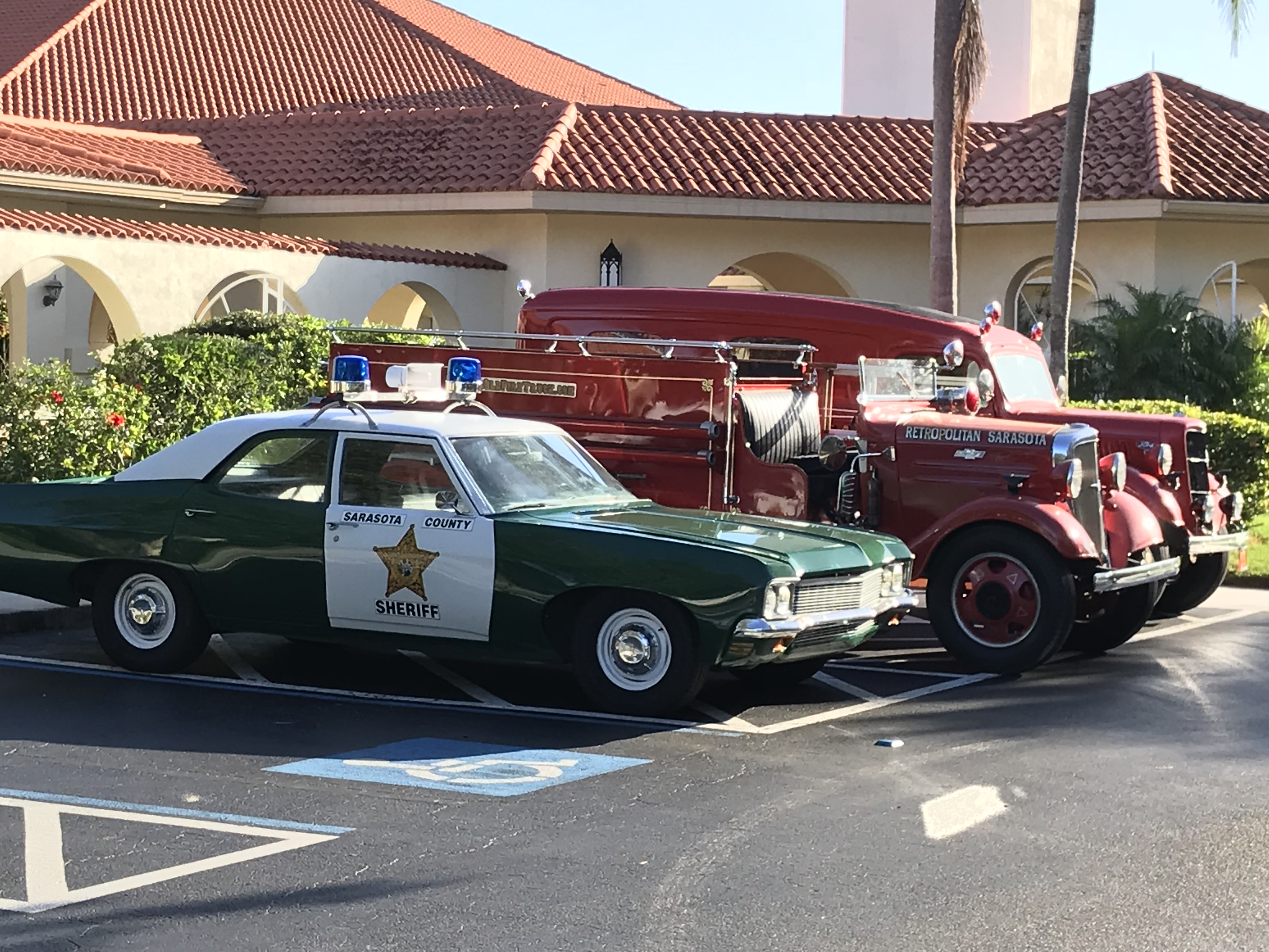 My 3 post-retirement restorations: 1970 Chevy Bel Air (owned by Sarasota Sheriff's Office), 35 Chevy pumper and 36 Ford rescue truck.