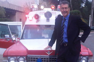 The ambulance was sold to a doctor who owned walk in clinics in San Diego.  He wanted it for PR in front of his clinics.  He sold it to A.J.Heightman, the publisher of the Journal of EMS.  It was then sold to a collector in California who touched up the restoration.  In this photo, Randolph Mantooth, star of the hit TV show EMERGENCY! poses with it in California at an event where he was making an appearance.